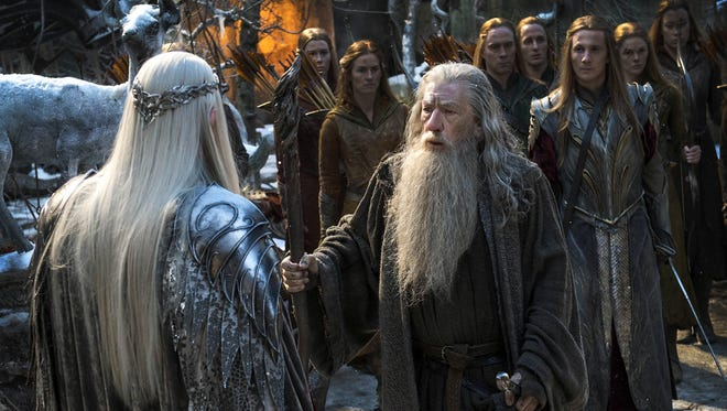 Lee Pace, left, as Thranduil and Ian McKellen as Gandalf in '?The Hobbit: The Battle of the Five Armies.?'