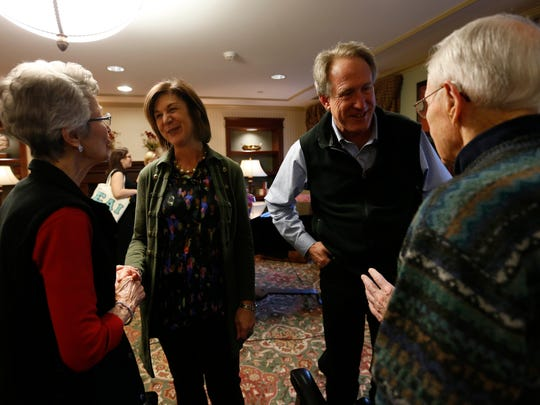 Deerfield residents talk with Haley Jenkins' parents, Julianna (left) and Jim Jenkins from Callaway, Neb., Jan. 29, 2016, following Haley's performance at the Deerfield retirement community in Urbandale.