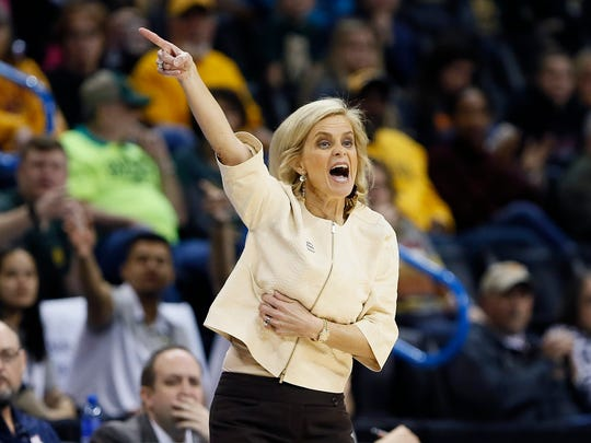 Baylor head coach Kim Mulkey coaches her team against Kansas State during the first half of an NCAA college basketball game in the Big 12 women's conference tournament in Oklahoma City, Sunday, March 10, 2019. (AP Photo/Alonzo Adams)