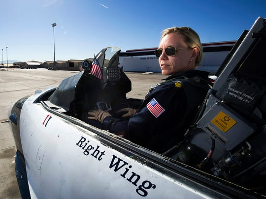 Maj. Caroline Jensen is one of thirteen females assigned to the Thunderbirds for the 2013 show season and the fourth female pilot and first female reservist demonstration pilot in team history.