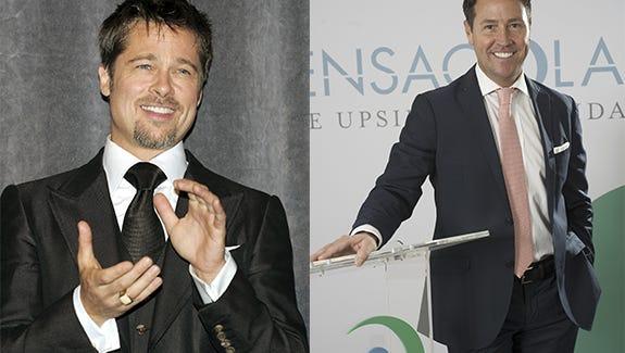 Brad Pitt, left, and Ashton Hayward, right.