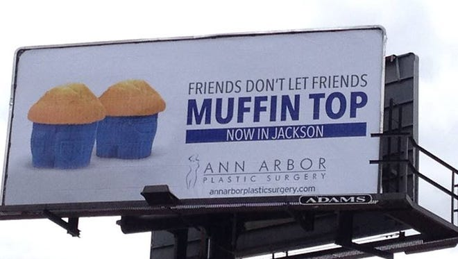 The billboard for Ann Arbor Plastic Surgery in Jackson, Mich.
