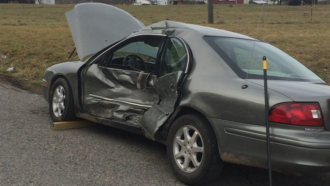 The car of John A. McElfresh after it was hit last week in Stuarts Draft. McElfresh, 89, died Sunday, police said.