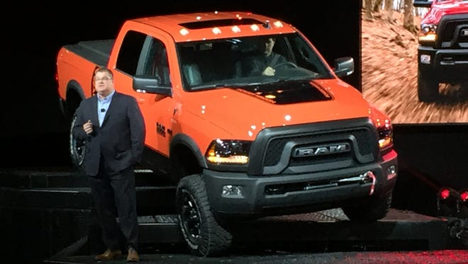Ram President and CEO Bob Hegbloom introduces the 2017 Ram Power Wagon at the Chicago Auto Show in February 2016.