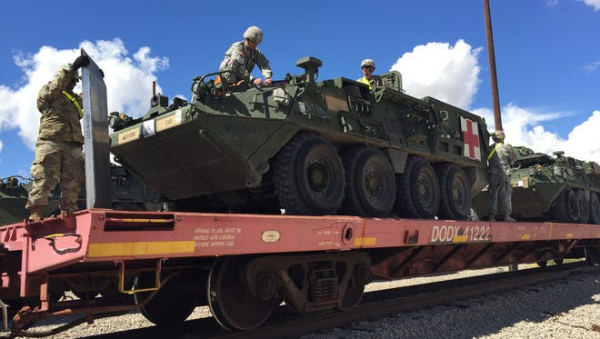 Soldiers from 1st Brigade have been busy loading vehicles and equipment onto rail cars to ship to the National Training Center at Fort Irwin, Calif., for their upcoming rotation.