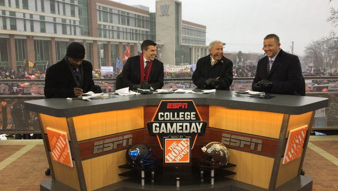 "ESPN's ""College GameDay"" featuring, from left, Desmond Howard, Rece Davis, Lee Corso and Kirk Herbstreit, broadcast live from Western Michigan on Saturday, Nov. 19, 2016."