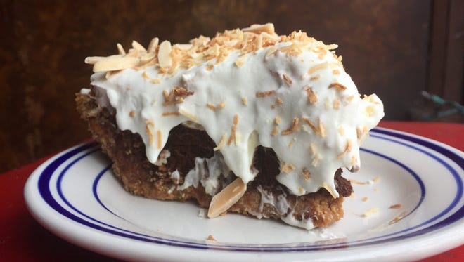 This Almond Joy Pie from Honeypie Cafe is a multilayered treat.