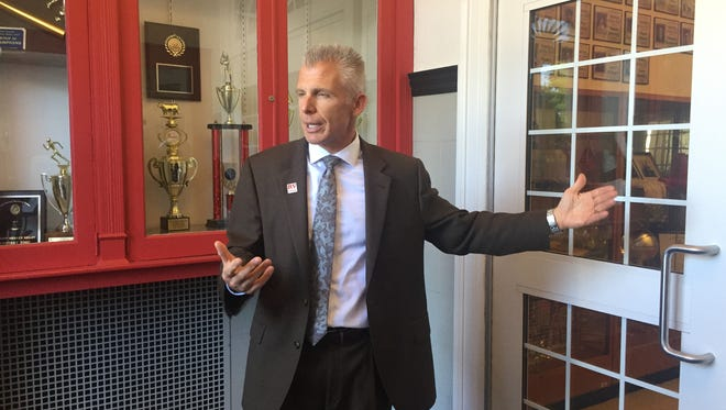 Rancocas Valley Regional High School Superintendent Chris Heilig shows an interior vestibule and door at the school's main entrance in Mount Holly that he would like to make safer with grant money his district intends to seek from a new Burlington County school security program.