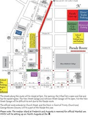 Route map for the Staunton Christmas Parade