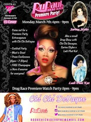 A flier for Chi Chi DeVayne's watch party for RuPaul's
