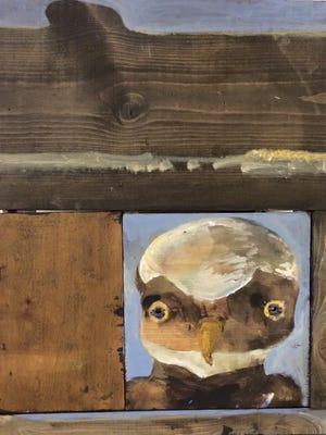"One of Stuart Howland's works, an acrylic-on-wood piece titled ""Hawk Boy."""