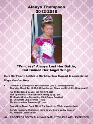 A barbecue to raise funds for the family of Alanya Thompson will be held on March 24, 2016.