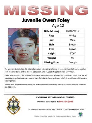 Police on Thursday night were looking for missing Owen Foley of the Vermont town of Georgia.