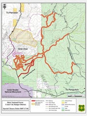 A map of forest road and trail closures.