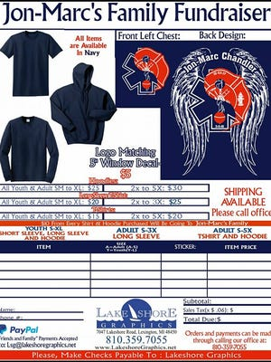 Apparel being sold by Lakeshore Graphics will benefit Jon-Marc Chandler's family.