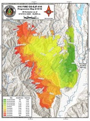The following map shows how the 416 fire burning near Durango, Colorado has grown since the blaze started on June 1.