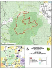 This map shows the perimeter of the West Valley Fire as of June 30.