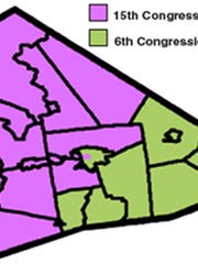 Map of the 6th and 15th congressional districts in Lebanon County