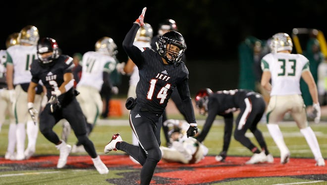 Avary Walker of Lafayette Jeff celebrates after the Bronchos recover a Westfield fumble with less than three minute remaining in the football sectional Friday, October 27, 2017, at Scheumann Stadium. Jeff defeated Westfield 27-24.