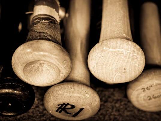 Retro photo of old baseball bats inscribed