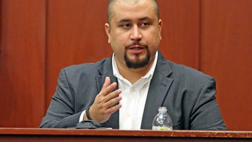 FILE - In this Sept. 13, 2016 file photo, George Zimmerman looks at the jury as he testifies in a Seminole County courtroom  in Orlando, Fla.  Authorities say a sheriff's deputy ordered Zimmerman to leave a central Florida bar, Wednesday, Nov. 9,  after Zimmerman accused a black customer of hitting him and used a racial slur.  (Red Huber/Orlando Sentinel via AP, Pool)