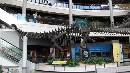 A dinosaur skeleton is one of the first exhibits people see when visiting Discovery Park of America on Oct. 7 in Union City, Tenn. The museum, which opened last November in rural West Tennessee, has attracted more than 270,000 visitors in its first year.