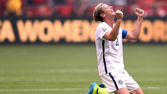 Abby Wambach of the United States celebrates the 5-2 victory against Japan in the FIFA Women's World Cup final on July 5, 2015.