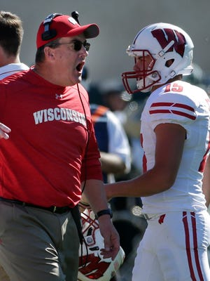 Wisconsin head coach Paul Chryst is shown after UW was penalized for unsportmanslike conduct during the fourth quarter of UW's game against Michigan State Saturday at Spartan Stadium in East Lansing, Mich.