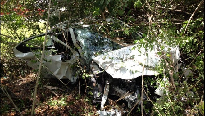 One person sustained minor injuries when their vehicle went off the road on northbound Interstate 95 near West Melbourne on Wednesday.
