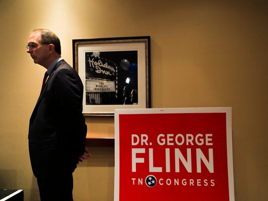 August 4, 2016 - Dr. George Flinn awaits to give his concession speech at the Holiday Inn in Bartlett after losing a bid for U.S. House District 8 seat on Thursday night. (Yalonda M. James/The Commercial Appeal)