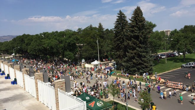 Fans gather at CSU's new on-campus stadium for the first public open house Saturday, Aug. 5, 2017.