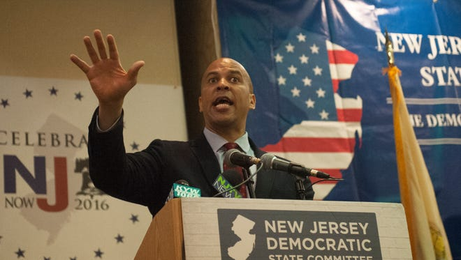 Sen. Cory Booker of New Jersey speaks during a Celebrate New Jersey Breakfast event at The Renaissance Philadelphia Airport Hotel during the 4th day of the Democratic National Convention in Philadelphia.