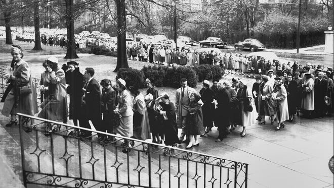 "Closing Marian Year observances with a pilgrimage, thousands of Mid-South Catholics marched in separate parish processions from the schoolyard to the sanctuary of Immaculate Conception Church in Memphis during the first week of  December 1954. Parish participation was called ""outstanding"" despite cold north winds, which failed to turn back the faithful. Thirty-five parishes and institutions took part."