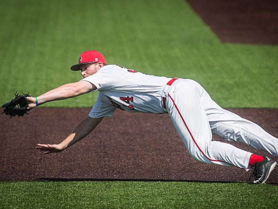 Ball State's Caleb Stayton catches for an out against