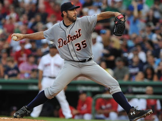 Tigers pitcher Justin Verlander (35) pitches during the first inning of the Tigers' 4-2 win Monday in Boston.