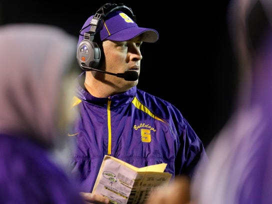 Smyrna head coach Matt Williams on the sidelines during