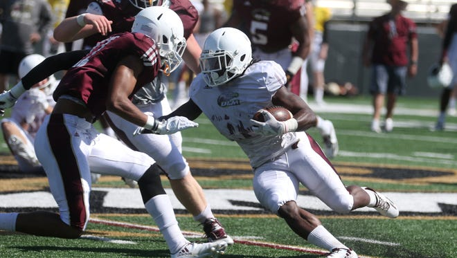 ULM's first and second-team offense each scored touchdowns during Saturday's scrimmage at JPS Field at Malone Stadium.