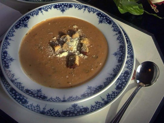 Tomato basil cream soup from Watts Tea Room.