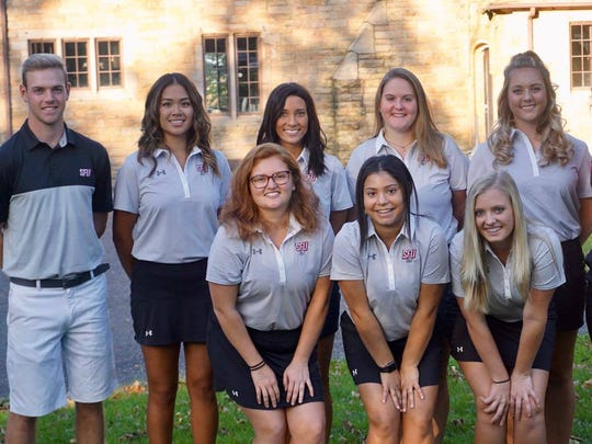 Desiree Razon, back row, second from left, plays Division I NCAA golf on the Saint Francis University team.