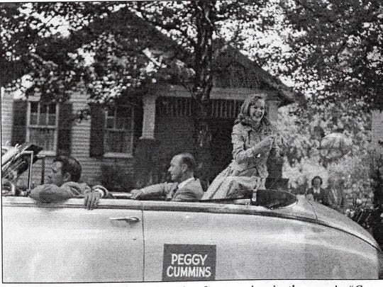 "Peggy Cummins rides in a parade after starring in the movie ""Green Grass of Wyoming"" which was filmed at the Lancaster fairgrounds in 1948.  Submitted Peggy Cummins rides in a parade after starring in the movie ""Green Grass of Wyoming"" which was filmed at the Lancaster fairgrounds in 1948."