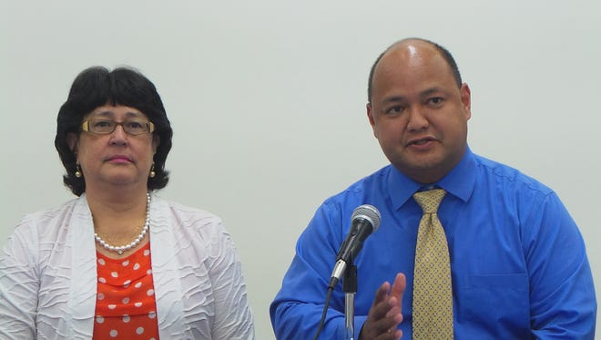 In this file photo, Guam Department of Education Superintendent Jon Fernandez talks about the May 2016 soft implementation of a new age-appropriate curriculum designed to raise student awareness about sexual assault and violence with Attorney General Elizabeth Barrett-Anderson.