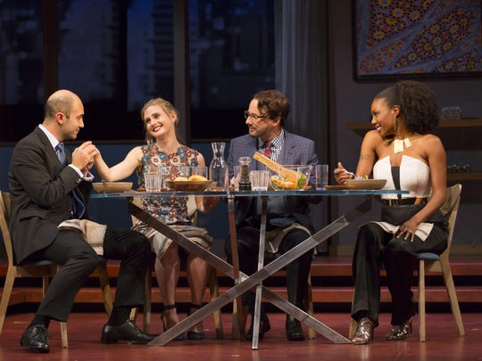 "Maboud Ebrahimzadeh (left to right), Caroline Kaplan, Kevin Isola and Austene Van in a scene from ""Disgraced."""