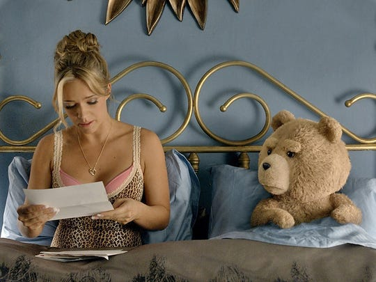 Jessica Barth as Tami-Lynn and Ted voiced by Seth MacFarlane in 'Ted 2.' (Tippett Studio/Universal Studios)