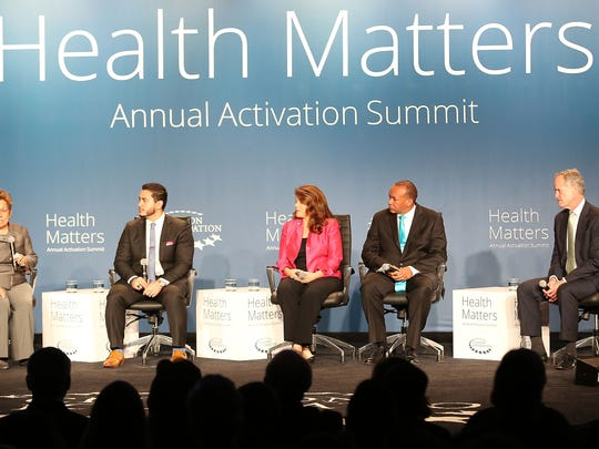 Donna Shalala, left moderates a panel that includes Dr. Abdul El-Sayed, Linda Evans, Dr. Charles Modlin and Jeffrey D. Selberg during the Clinton Foundation's Health Matters Activation Summit in Indian Wells, January 25, 2016.