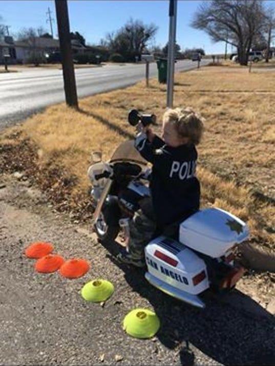 Jordan Petrella, 4, future patrol officer