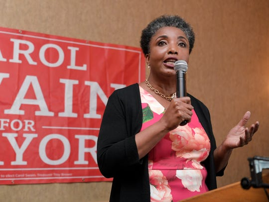Mayoral candidate Carol Swain gives her concession
