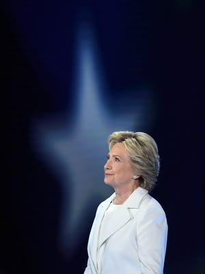 Democratic presidential nominee Hillary Clinton accepts the nomination of the party during the last day of the Democratic National Convention at the Wells Fargo Center in Philadelphia on Thursday, July 28.