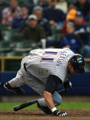 First baseman Richie Sexson of the Arizonia Diamondbacks hits the ground after a close pitch against the Milwaukee Brewers on April 22, 2004 at Miller Park in Milwaukee, Wisconsin.