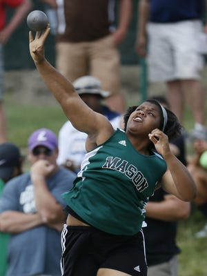 Mason's Amaya King competes in the OHSAA State Finals Track and Field meet at Jesse Owens Memorial Stadium in Columbus .