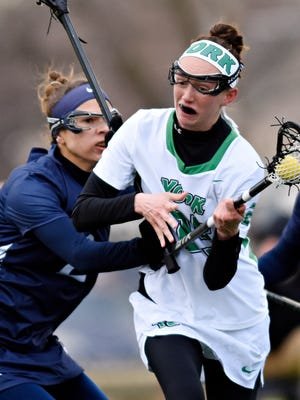 York College's Devin Hursey, right, seen here in a file photo, had three goals in the Spartans' win over No. 5 Mary Washington on Friday. YORK DISPATCH FILE PHOTO